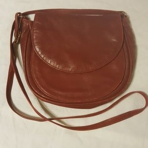 Vintage Red Leather Three Pouch Crossbody Purse
